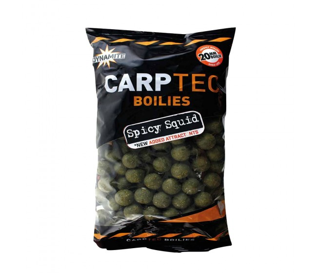 Протеинови топчета DYNAMITE Baits CarpTec Boilies SPICY SQUID, 20/15 mm, 2 kg | www.CARPMOJO.com