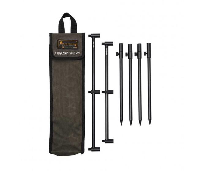 Комплект колчета и бъзбарове Prologic AVENGER 3 Rod Buzz Bar Kit & Carrycase   www.CARPMOJO.com