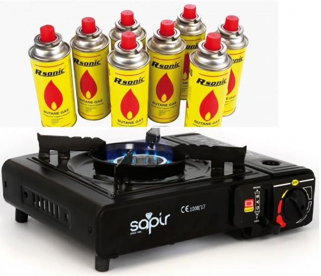 Туристически газов котлон Sapir SP1445 TGB + подарък 8 флакона газ   www.CARPMOJO.com