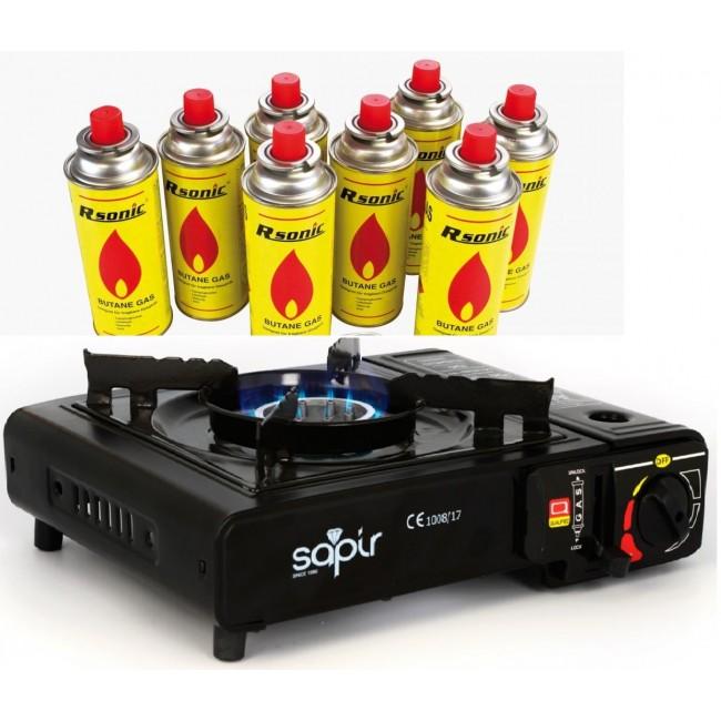 Туристически газов котлон Sapir SP1445 TGB + подарък 8 флакона газ | www.CARPMOJO.com