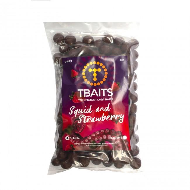 Пакет протеинови топчета T-BAITS Squid and Strawberry 1kg | www.CARPMOJO.com