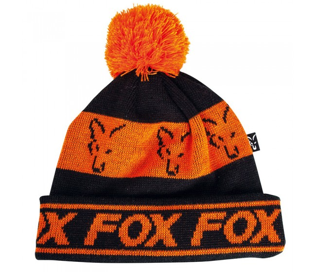 Зимна шапка FOX BLACK & ORANGE Lined Bobble | www.CARPMOJO.com