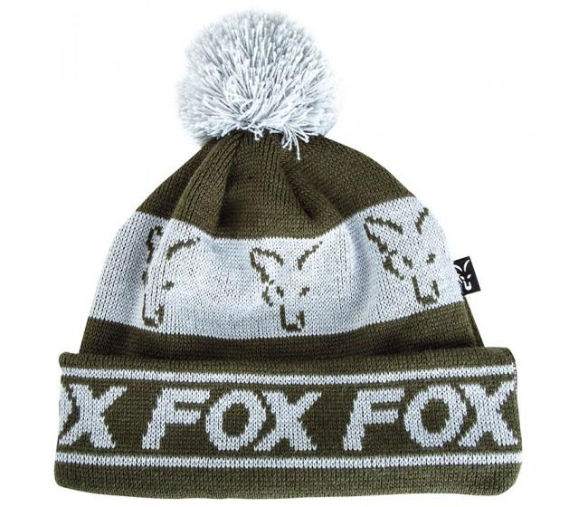 Зимна шапка FOX GREEN & SILVER Lined Bobble | www.CARPMOJO.com
