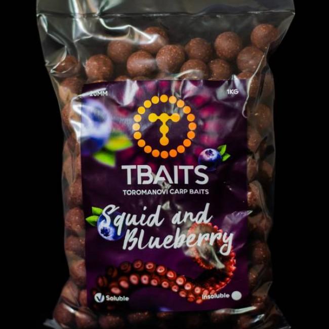 Пакет протеинови топчета T-BAITS Squid & Blueberry, 20 mm, 1 kg