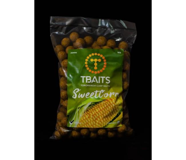 Пакет протеинови топчета T-BAITS Sweetcorn, 20 mm, 1 kg | www.CARPMOJO.com