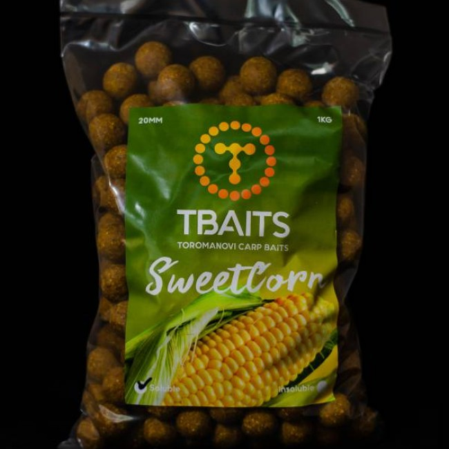 Пакет протеинови топчета T-BAITS Sweetcorn, 20 mm, 1 kg | www.CARPMOJO.com